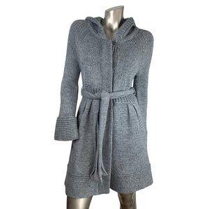 Free People | Grey Hood Waist Tie Cardigan Coat